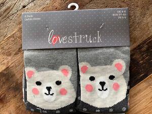3 Pair Pack Lovestruck Ladies Socks Cuddly Teddy Bear Patterns