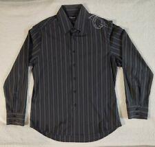 7 DIAMONDS Men's Blk/Gry Pinstriped L.Sleeve Button Up Shirt XXLw/Hibiscus embro