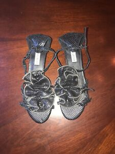 Kelsi Dagger Black Ruffle Rosette Sandal Flats Buckle Shoes Size 7.5M