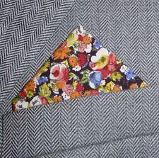 SUPERNOVA Liberty Fabric Orange Red Blue Green Floral Pocket Square Handkerchief