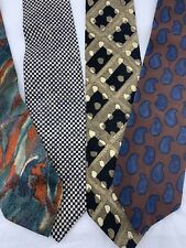 Hugo Boss Tie Lot, Vintage, Fabric Made In Italy-100% silk Abstract, geometric,