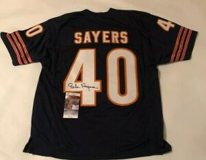 Gale Sayers Autographed Chicago Bears Blue Jersey JSA Witnessed COA