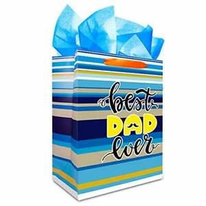 """Father's Day Gift Bag with Tissue Paper,13"""" Best Dad Ever Bags with"""