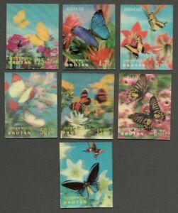 AOP Bhutan 3D stamps 1968 Butterfies 7v