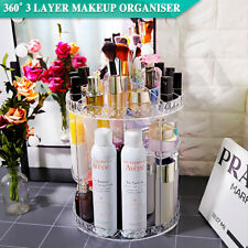360° 3 Layer Cosmetics Holder Rotating Clear Acrylic Makeup Organiser Storage AU