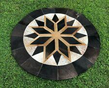 "Cowhide Patchwork Rug Round Brown Black Star Geometric Western Area Rugs 48"" 4ft"