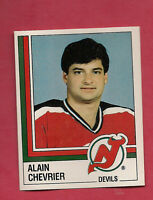 RARE 1987 PANINI # 73 DEVILS ALAIN CHEVRIER GOALIE STICKER   CARD