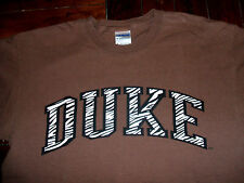Duke University Brown T-Shirt Zebra Print Lettering Adult Medium 100% Cotton