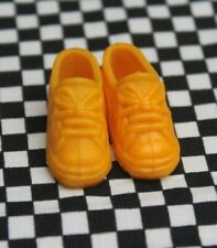 Pair Vintage Pedigree doll yellow trainers shoes marked Sindy on bottom VGC