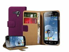 Wallet VIOLET Leather Case Cover Pouch for Samsung Galaxy Trend Plus GT-S7580