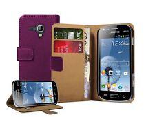 WALLET in Pelle Viola Case Cover Custodia per Samsung Galaxy Trend Plus GT-S7580