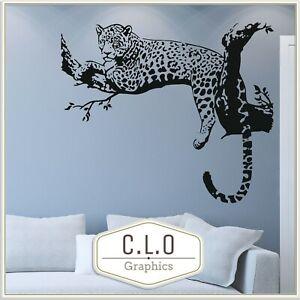 Leopard in Tree Wall Sticker Vinyl Art Transfer Wild Animal Big Cat Graphic Nice