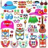 60pcs Hawaiian Luau Tiki Photo Booth Selfie Props Tropical Beach Party Holiday