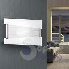 Applique lampada parete design moderno vetro decoro righe cromo corridoio bagno