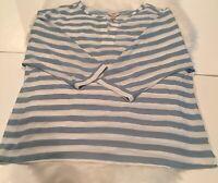 Ann Taylor LOFT Women's Blue White Striped 3/4 Sleeve VNeck Slot Blouse Shirt XL