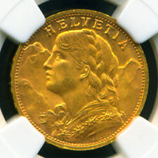 SWITZERLAND 1947 B GOLD COIN 20 FRANCS * NGC CERTIFIED GENUINE MS 65 * BRILLIANT
