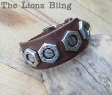 Urban Vintage style Genuine Brown Leather Band Bolt Rivet Diesel Bracelet