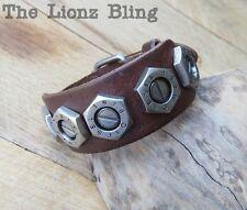 Urban Vintage style Genuine Brown Leather Band Bolt Rivet DIESEL Bracelet
