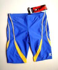 TYR Royal Blue/Gold ALLIANCE Splice Jammer Nylon/Lycra Swimsuit NWT Size 32