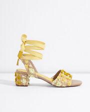 Jigsaw Mysha Raffia Pom Heeled Sandals Womens New Yellow