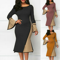 Sleeve Evening Plus Size Neck Round Bodycon Dress Spliced Womens Long Cocktail