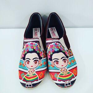 Mexican shoes Handmade flat slip on shoes Frida Khalo zapatos mexicanos 6,7,8,9