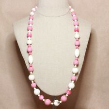 Vintage Pink and white endless necklace