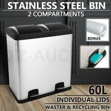 60L Dual Pedal Compartment Stainless Steel Kitchen Waste Garbage Rubbish Bin