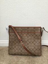 $225 NWT COACH KHAKI/ SADDLE Signature File  Cross Body Bag F58297