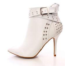 White Studded Rhinestone Ankle Strap Bootie Heels, US 9