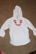 NWT Gymboree Girls Hoodie Terry Cloth Medium M 7-8 White Floral Embroidery 32.95