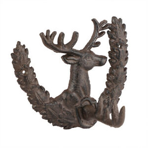 Vintage Antique Brown Cast Iron Highland Stag Head Wall Mounted Coat Hook