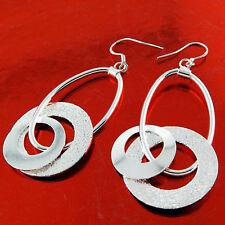EARRINGS GENUINE REAL 925 STERLING SILVER S/F LADIES HOOK DANGLY DROP DESIGN