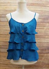 Womens Top Spaghetti Strap Ruffled Boho Westward Cami Tank Top Shirt Size S