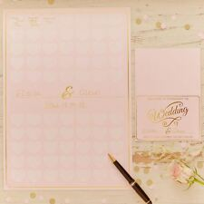 GINGER RAY HEART GUEST BOOK A3 POSTER WEDDING PARTY KEEPSAKE PASTEL GOLD PINK