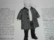 "14"" JOINTED Boy Doll Pattern Coat/Stockings / Barbara Manhart"