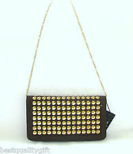 NEW-DS BROWN STINGRAY EMBOSSED LEATHERETTE+GOLD STUDS,CHAIN CLUTCH,PURSE,BAG+TAG