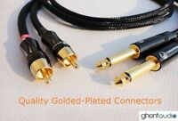 """C02(0.3m 1ft)---Pair 6.35mm (1/4"""") TS Mono(M) to RCA/Phono(M) 4N-OFC Audio Cable"""