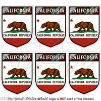 CALIFORNIA State Bear Shield USA 40mm Mobile Cell Phone Mini Stickers, Decals x6
