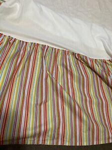 "Garnet Hill Twin Dust Ruffle Orange Turquoise Yellow Striped Bedskirt 18"" Drop"