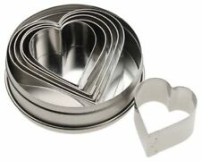 6 X Cutter Stainless Steel Slicer Heart Shape Kitchen Cookie Moulds