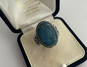 Vintage 925 Silver Navajo Style Oval Turquoise Dress Ring Size S 1/2 4.4 Gram