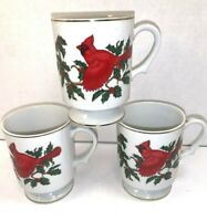3 LEFTON RED CARDINAL BIRD MUG CUPS  # 1063  HOLLY AND BERRIES
