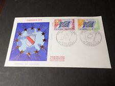 FRANCE 1975, FDC 1° JOUR, TP SERVICE 46/47, CONSEIL EUROPE, DRAPEAU, FLAG