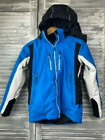 Crane Snow Extreme Boys Ski Jacket Sz 10 Blue Black Hooded Insulated Outdoor