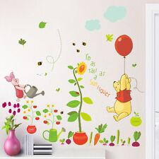 Winnie The Pooh Sunflower Wall Stickers kids baby Room Vinyl Art Decal Decor DIY