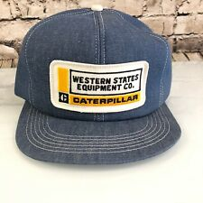 Vintage Western States Equipment Caterpillar Denim Snapback hat cap cat K Brand