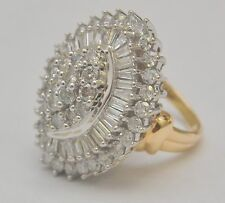 10k Solid Gold 4.91 ct Diamond Cluster Cocktail Ring size 6.75