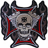 Skull Cross Patch Iron Sew On Cloth Embroidered Badge Motorbike Motorcycle Biker