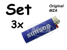 Simson 3x Encendedor BIC azul Tapa de cromo - Letras: Rápido Flitzer de Suhl